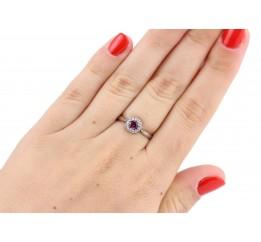 Кольцо серебряное с натуральным родолитом Солнышко (1459/9 р родолит)