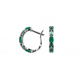 Серьги серебряные с зелёным кварцем и агатом Влияние (2957/9р з кварц)