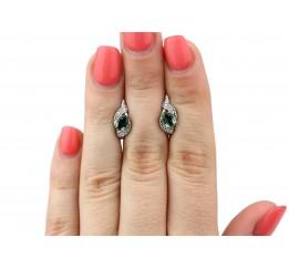 Серьги серебряные с зелёным кварцем Рената (2882/9р з кварц)