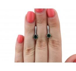 Серьги серебряные с зелёным кварцем Лея (2345/9р з кварц)