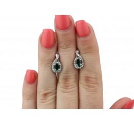 Серьги серебряные с зелёным кварцем Лезгинка (2420/9р з кварц)