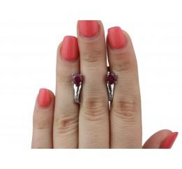 Серьги серебряные с натуральным рубином Карэлла (2357/9р рубин)