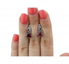 Серьги серебряные с натуральным рубином Содружество (2422/9р рубин)