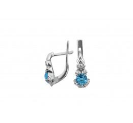 Серьги серебряные с голубым кварцем Паутинка (2413/9р г кварц)