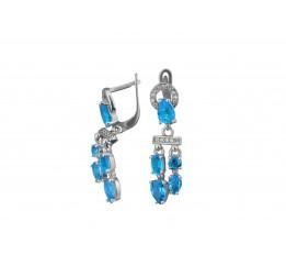 Серьги серебряные с голубым кварцем Блеск океана (2927/9р г кварц)