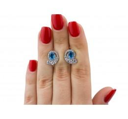 Серьги серебряные с голубым кварцем Доротея (2931/9р QSWB)
