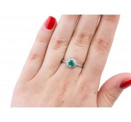 Кольцо серебряное с  зелёным агатом Лаки (1076/1р з агат)