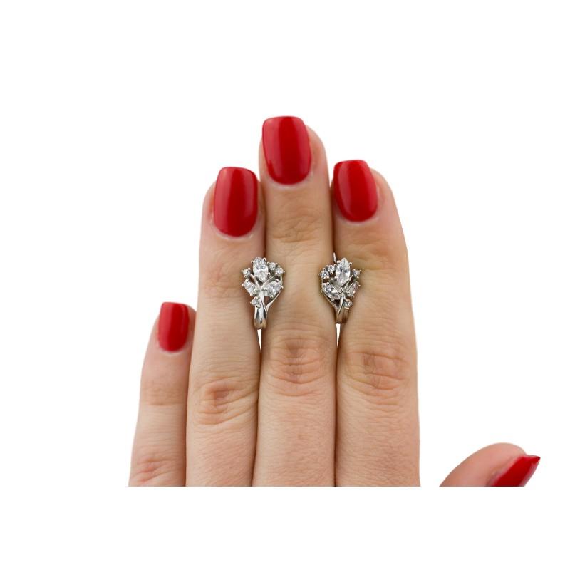 Серьги серебряные с цирконием Крокус новый (2393/9р)