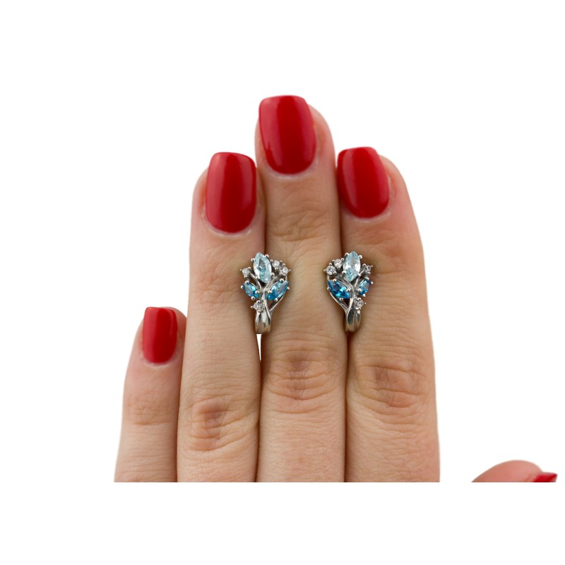 Серьги серебряные с цирконием Крокус новый (2393/9рг)