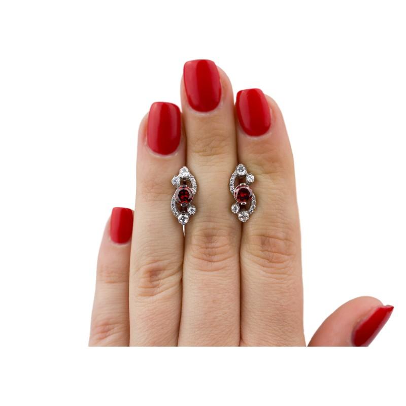 Серьги серебряные с цирконием Оперетта (2374/9рк)