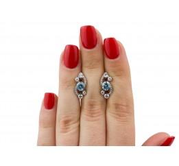 Серьги серебряные с цирконием Оперетта (2374/9рг)