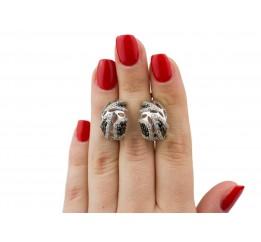 Серьги серебряные с цирконием Парча (2863/9рч)