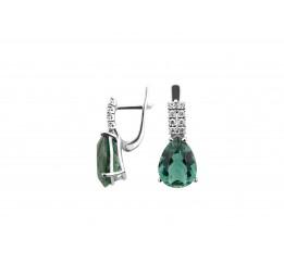 Серьги серебряные с зелёным кварцем и цирконием Полесье (2969/9р з кварц)