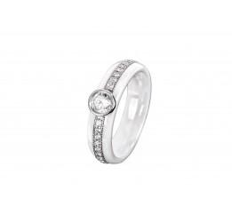 Кольцо серебряное с керамикой и фианитами Бристоль (кб023)