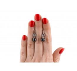 Серьги серебряные с керамикой и фианитами (сч047)