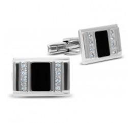 Запонки серебряные с эмалью (8622р)