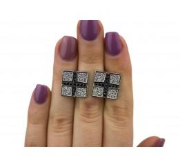 Запонки серебряные с цирконием (8553р)