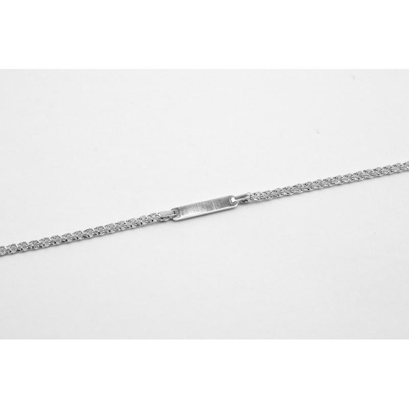Браслет серебряный Бисмарк с пластиной (41035бр)