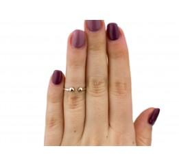 Кольцо серебряное с золотом на фалангу (1114к)