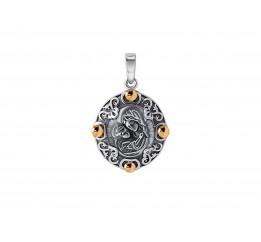 Ладанка серебряная с линзой Владимирская Богоматерь (1182л)
