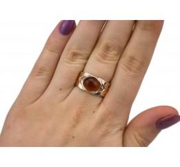 Кольцо серебряное с золотом и янтарём (0471.01к)