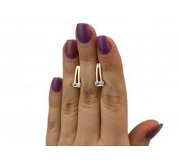 Серьги серебряные с золотом и цирконием (0504.10с)