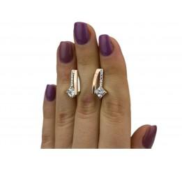 Серьги серебряные с золотом и цирконием (0494.10с)