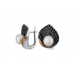 Серьги серебряные с золотом и жемчугом (0409.10с)