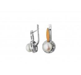 Серьги серебряные с золотом и жемчугом (0315.10с)