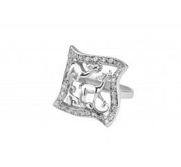 Кольцо серебряное с цирконием Олени (1168р)