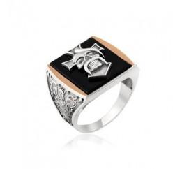 Печатка серебряная с золотом (571)