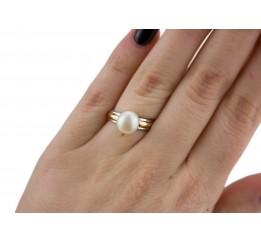 Кольцо серебряное с золотом и жемчугом (585ркб)