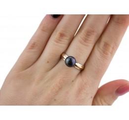Кольцо серебряное с золотом и жемчугом (585ркч)