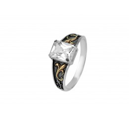 Кольцо серебряное с золотом (А001к)