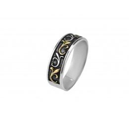 Кольцо серебряное с золотом (А002к)