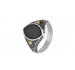 Кольцо серебряное с золотом (А030)