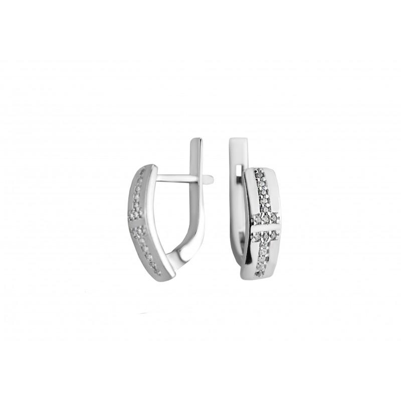Серьги серебряные с цирконием Тандем (2182/1р)
