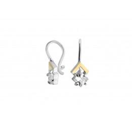 Серьги серебряные с золотом и фианитами 440 (440рс)