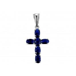 Крестик серебряный с гидротермальным сапфиром Крест с 6 камнями (3574р сапфир)