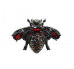 Брошь серебряная с натуральным гранатом Пчелка (19 0 5698gr)