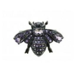Брошь серебряная с натуральным аметистом Пчелка (19 0 5698am)