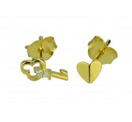 Серьги пусеты-гвоздики серебряные с цирконием Ключик с сердцем (515 1 483)