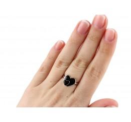 Кольцо серебряное с эмалью Сердечки (223 01ч)