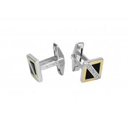 Запонки с золотом и ониксом (773з)