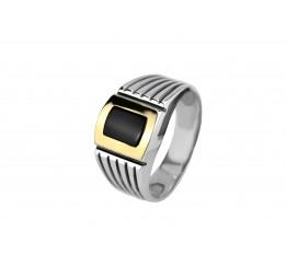 Печатка серебряная с золотом (764з)