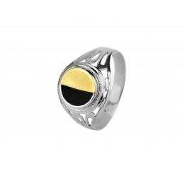 Печатка серебряная с золотом (509з)