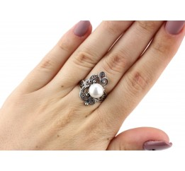 Кольцо серебряное с жемчугом  Прима (11369)