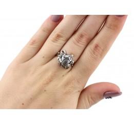 Кольцо серебряное с жемчугом  Лягушка (11026)