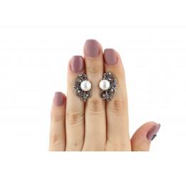 Серьги серебряные с жемчугом  Прима (22430)