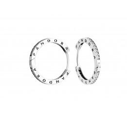 Серьги серебряные Кольца с камнями (4754)